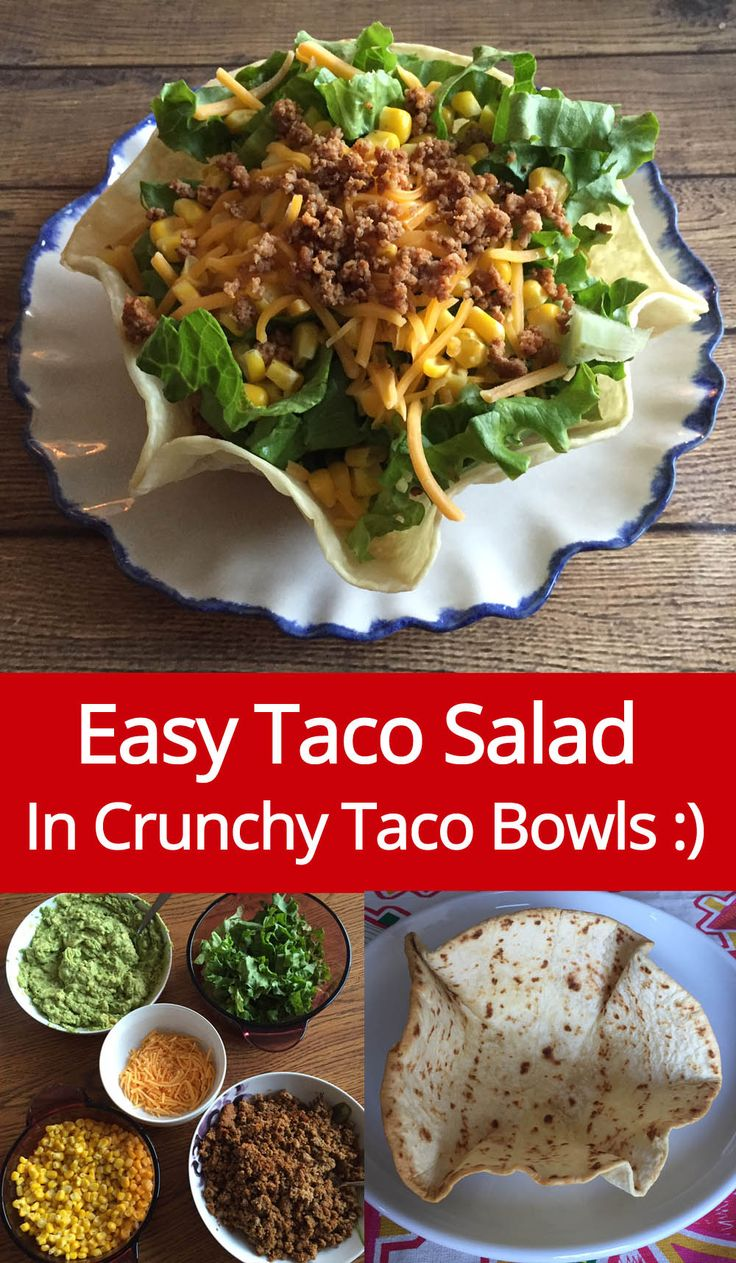 Taco Salad Recipe In Crunchy Baked Taco Shell Bowls - Easy, Healthy and Delicious! from MelanieCooks.com