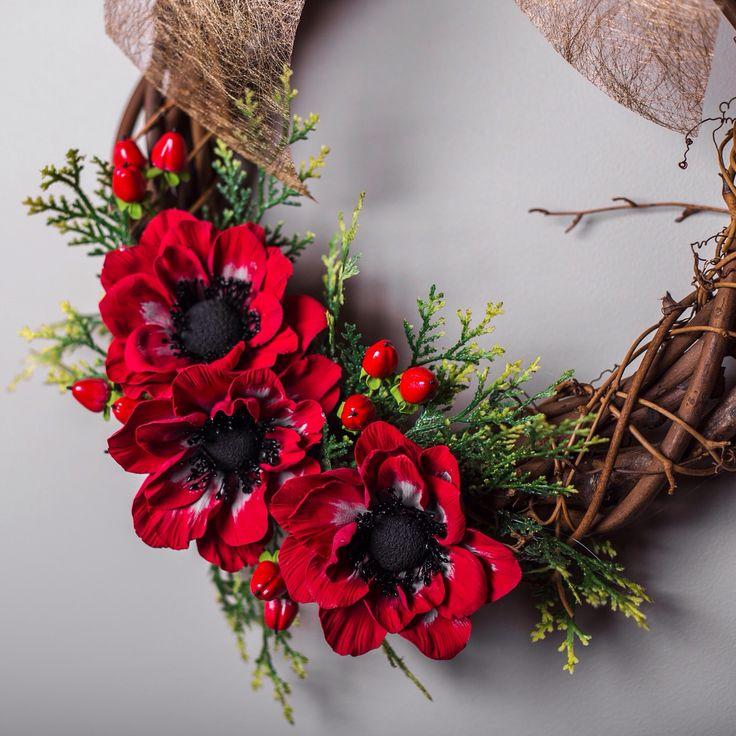Polymer clay flower wreath