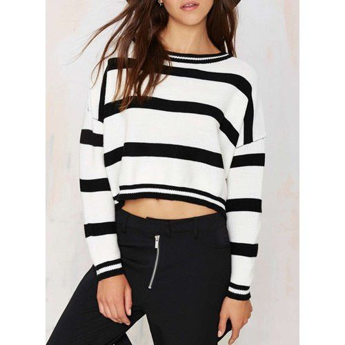 Stylish Round Collar Long Sleeve Striped Women's Sweater