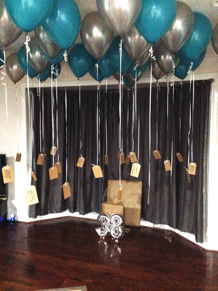 38th Birthday ideas!  38 helium balloons with 38 reasons why I love you notes attached