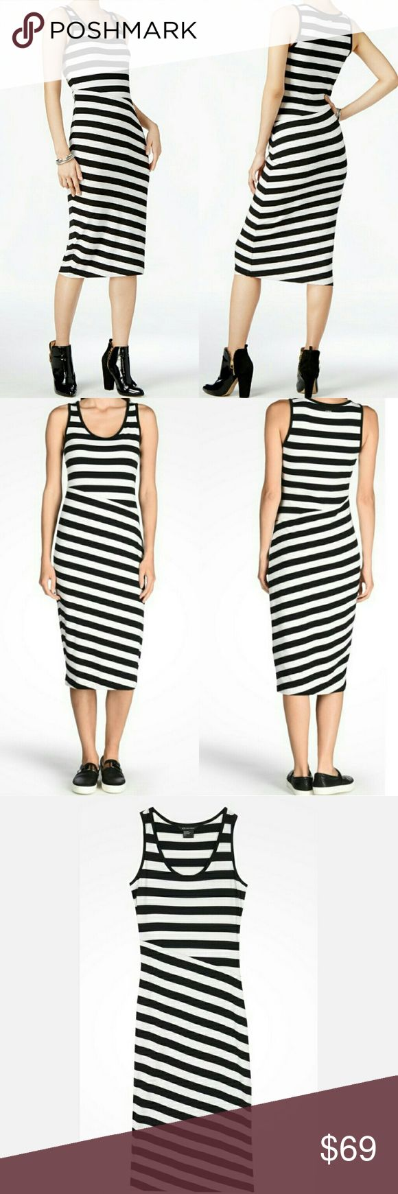 """🆕Armani Exchange Striped Bias Cut Jersey Dress A sleek and simple striped jersey tank dress with a bias cut offers a flattering fit. Pairs perfectly with a leather jacket for cool nights. Material:62% Polyester, 33% Viscose, 5% Elastane. Machine washable. Approximate measurements: 18"""" armpit to armpit, 15"""" waist laid flat, 46"""" shoulder to hem. According to the manufacturer, the fit runs true to size. Armani Exchange Dresses"""