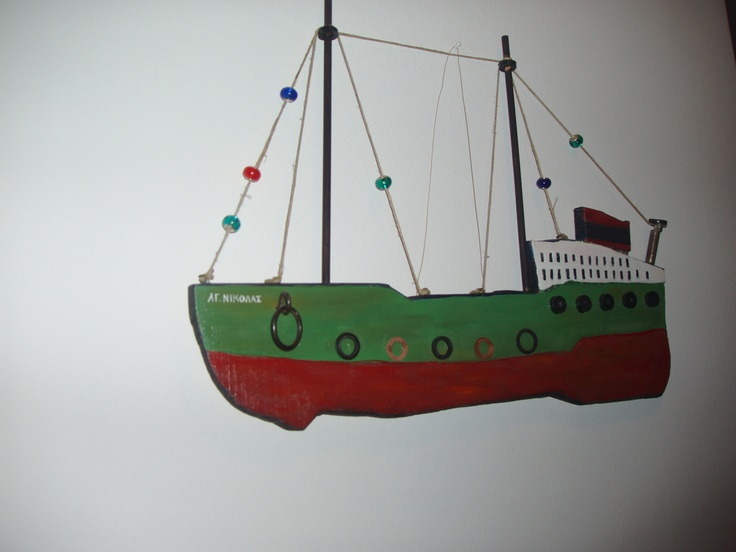 St. Nicolas boat, wooden, painted.
