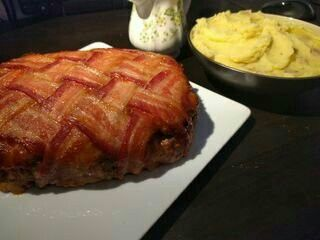 Bacon Wrapped Meatloaf, oh yes.....