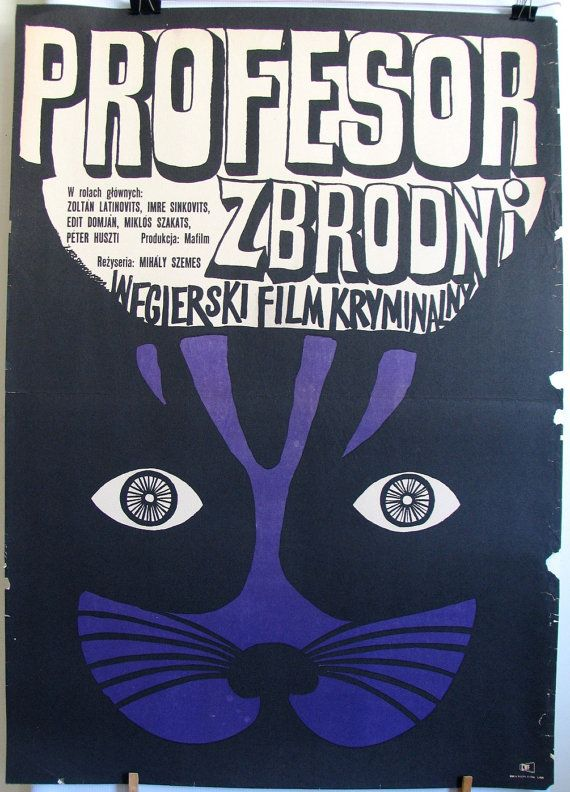 Very old poster. Hungarian film (1969) by Mihály Szemes - Az alvilág professzora (original title). Polish poster – Joanna Krzymuska (1970)
