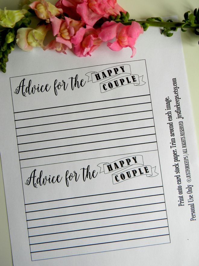 free bridal shower advice card template%0A FREE wedding advice card printable from JustForKeeps