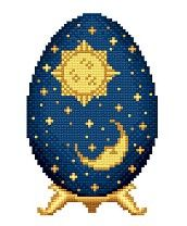 Pay Cross Stitch Pattern - Sun and Moon Easter Egg by Solaria Gallery ($2.99)