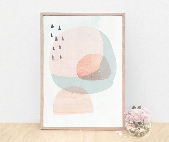 A3 Abstract Modern Danish Art Print - Circles and Triangles- Light Peach version - Fine Art Giclee Print on Etsy