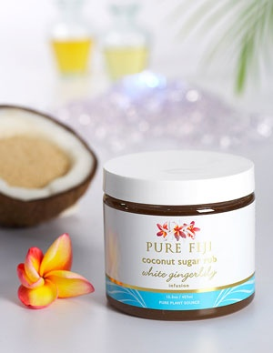 Pure Fiji Coconut Sugar Rub - White Gingerlily Infusion  Pure Fiji Product: Tropical, Natural, Organic Body Care