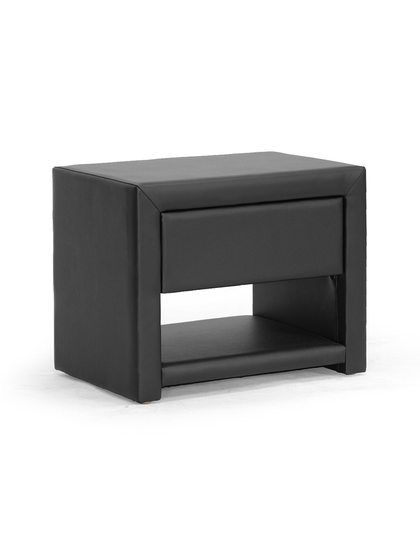 Massey Black Upholstered Modern Nightstand By Design Studios At Gilt