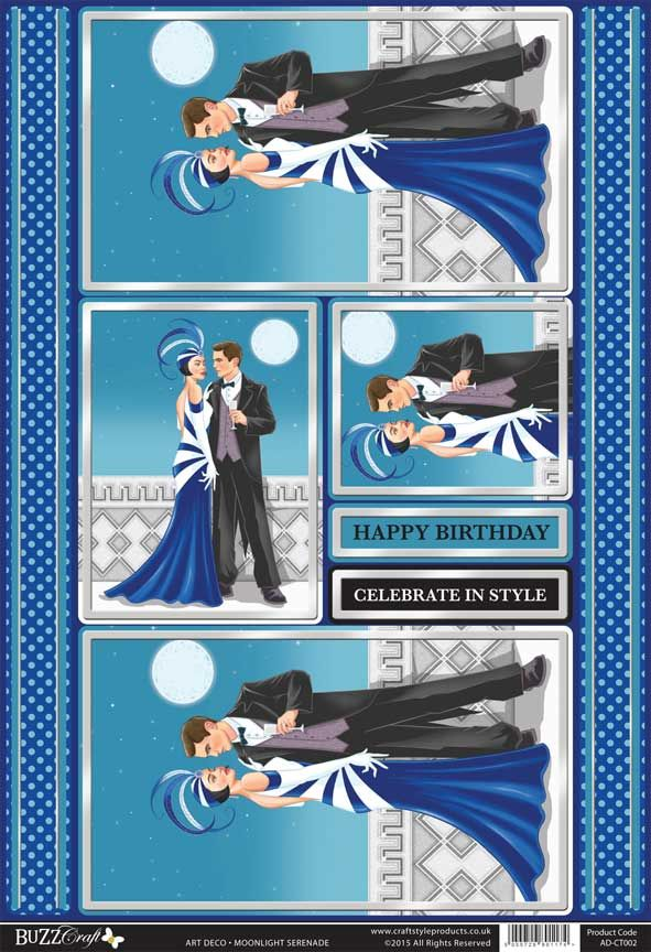 Buzzcraft Art Deco die cut toppers - Moonlight Serenade