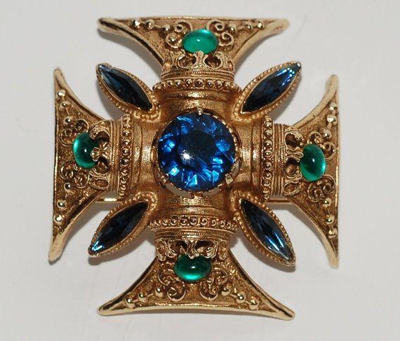 Florenza Rhinestone Maltese Cross Brooch by EmbellishgirlVintage
