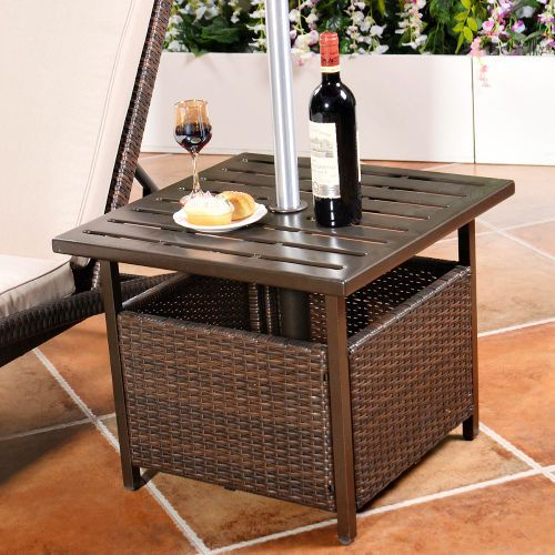 Outdoor Wicker Side End Table Patio Pool Rattan Furniture Umbrella Hole Stand  #Unbranded