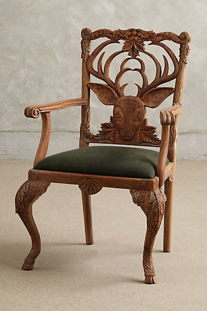 Handcarved Menagerie Deer Armchair #anthropologie  Exquisite detail in this handcarved chair!