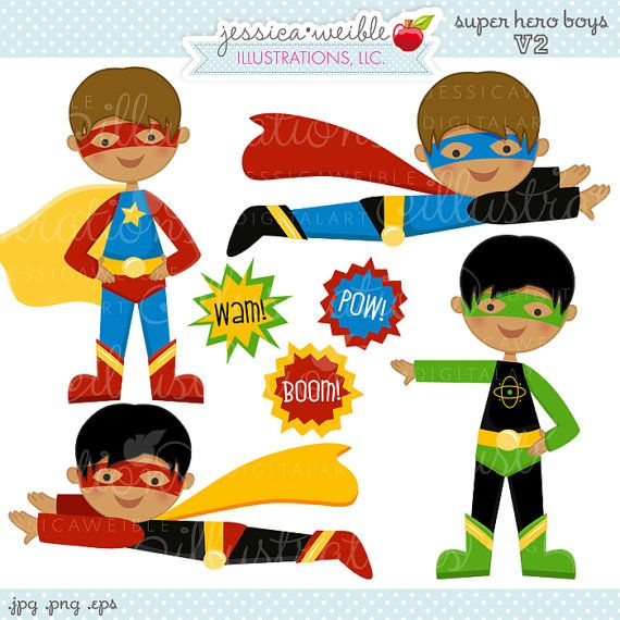 Super Hero Boys V2 Cute Digital Clipart - Commercial Use OK - Super Hero Clipart, Super Hero Graphics