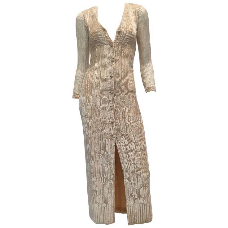 Pauline Trigere 1970's Ivory Velvet Long Dress