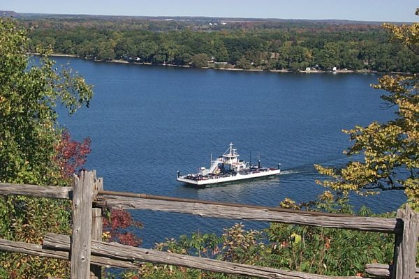 Spying on the Glenora Ferry from the Lake on the Mountain Park