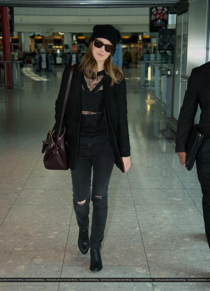 Emma Watson.. Nina Ricci Lace Sweater, and Saint Laurent Classic Duffle 6 Bag..... - Celebrity Fashion Trends