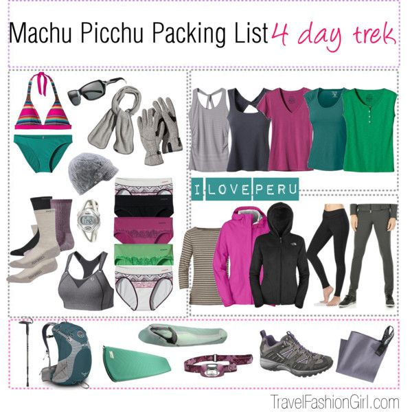 Machu Picchu Packing List and Travel Gear by travelfashiongirl, via Polyvore