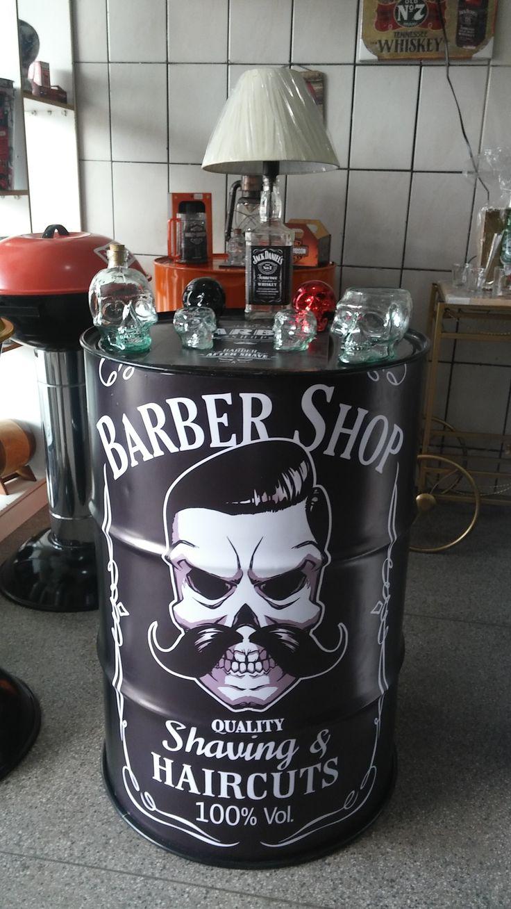 Mesa de Tambor de 200 Litros Personalizada Barber Shop