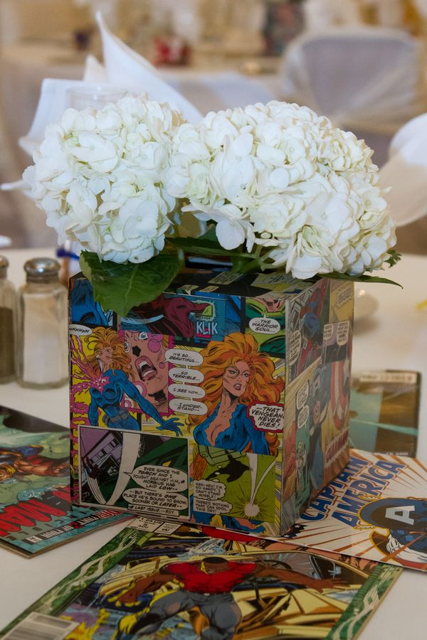 comic book wedding centerpieces