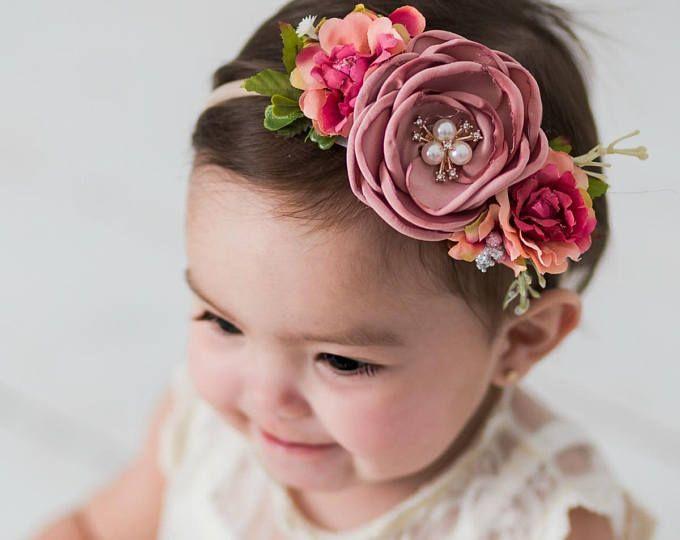 Pale pink Children photo props Kids headband Floral headband Hard headband Flower headband Pompom headband