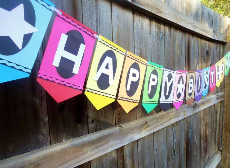 Colorful Crayon Birthday Banner PartiesRainbow
