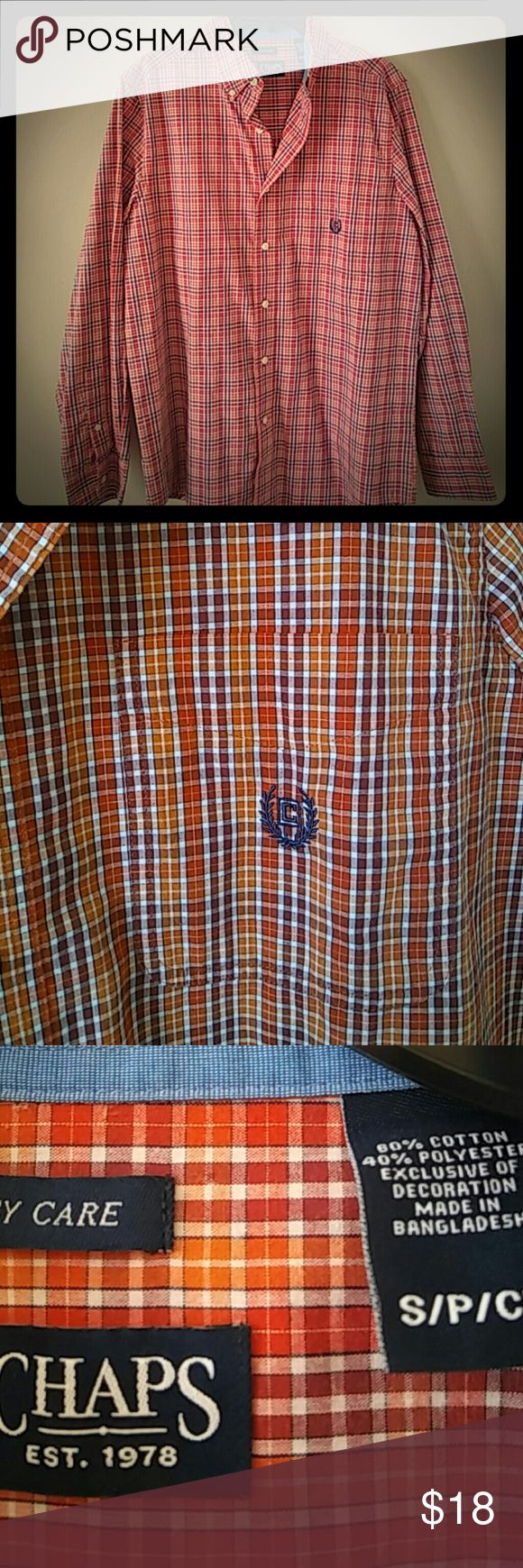 Red & Orange Chaps Shirt Red & Orange plaid button down shirt.  Great condition. Chaps Shirts Casual Button Down Shirts