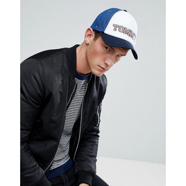 Tommy Hilfiger Retro Tommy Baseball Cap in Blue/White ($48) ❤ liked on Polyvore featuring men's fashion, men's accessories, men's hats, blue, mens snapback hats, mens blue fedora hat, mens caps and hats and mens white fedora hat