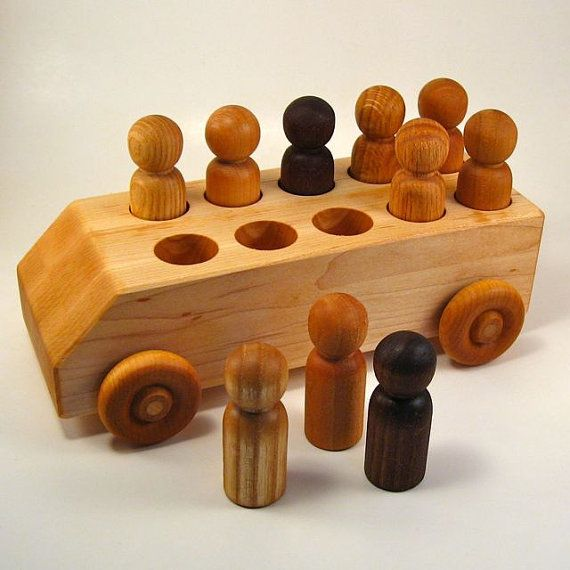 Natural Wood Toy Bus  With Name Engraving by WoodToyShop on Etsy, $45.00