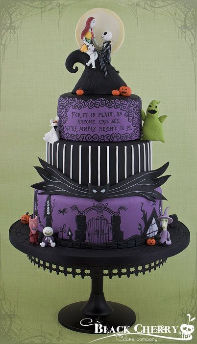 Nightmare Before Christmas Wedding Cake... Love it!!!! :) (Not getting married but I still like it)