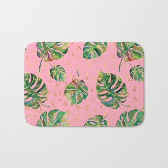 Monstera Gold // Monstera Pattern, Gold Foil Pattern, Lifestyle Digital Collage Pink Bath Mat The perfect bath mats: fuzzy, foamy and finely enhanced with brilliant art. With a soft, quick-dry microfiber surface, memory foam cushion and skid-proof backing, our shower mats are a cut above your typical rug. Keep them clean with a gentle machine wash (no bleach!) and make sure to hang dry.