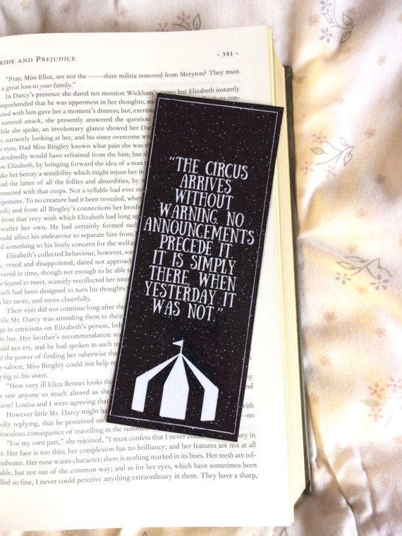 Le marque-page Erin Morgenstern Quote de nuit du Cirque
