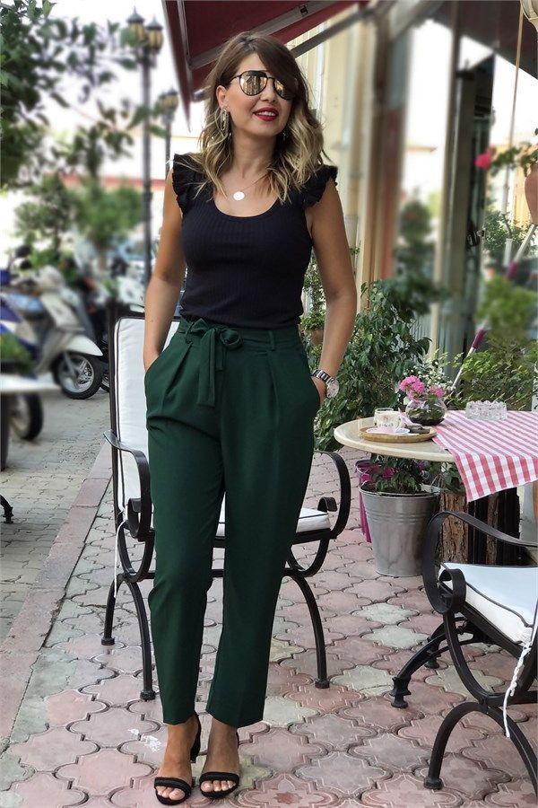 Koyu Yeşil Havuç Pantolon ELVAN TOLON.COM