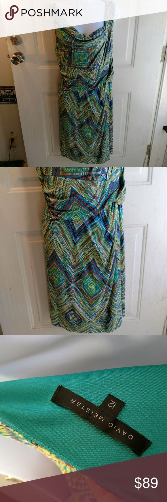 David Meister green blue chevron polka dot dress David Meister blue and green Chevron with polka dot print sleeveless, faux wrap dress. Size 12. Gently used with no flaws.  b9-118 David Meister Dresses Midi