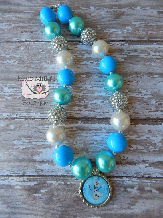 Olaf Frozen Girls Chunky Necklace by MissMillysBoutique on Etsy, $17.50