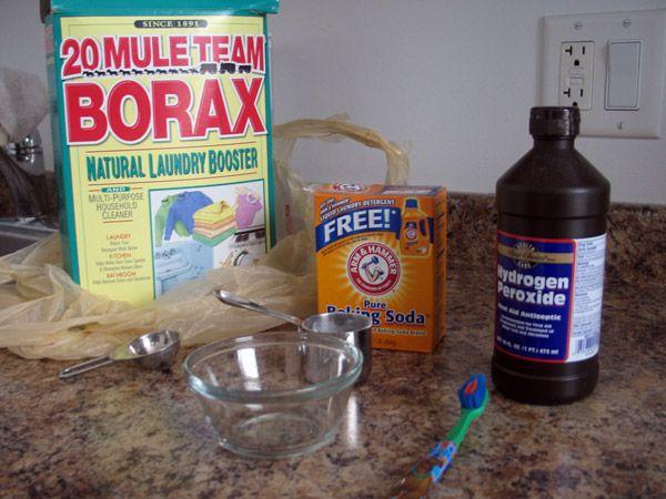 Remove stains from vintage fabrics- 1 Tbsp borax, 5-6 pumps liquid dish soap…
