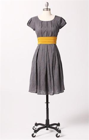 Cute grey dress with yellow sash. Modest is hottest!