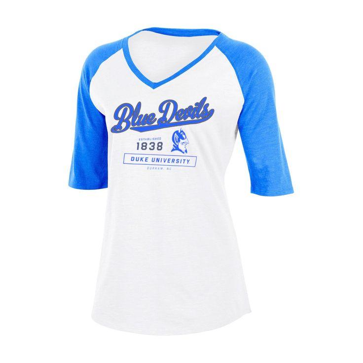 NCAA Duke Blue Devils Women's Fashion V-Neck Raglan T-Shirt - XL, Multicolored