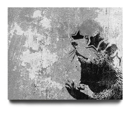 One of Banksy's many classic rat stencils...