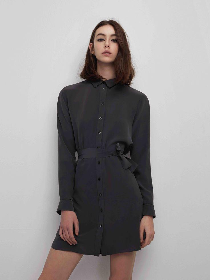 Sankt's Werk Silk Shirt Dress #FW16 #silk #shirt #dress #leather #pipe #detail #timeless #chic #sankt #wearesankt