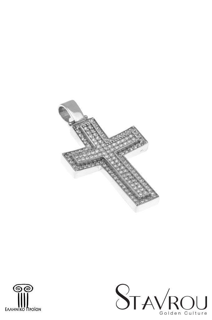 Γυναικείος σταυρός,με ζιργκόν,σε λευκό χρυσό Κ14 #σταυροί_βάπτισης #βαπτιστικοί_σταυροί #χειροποίητα_κοσμήματα #γυναικείοι_σταυροί  #σταυροί #σταυροί_με_ζιργκόν