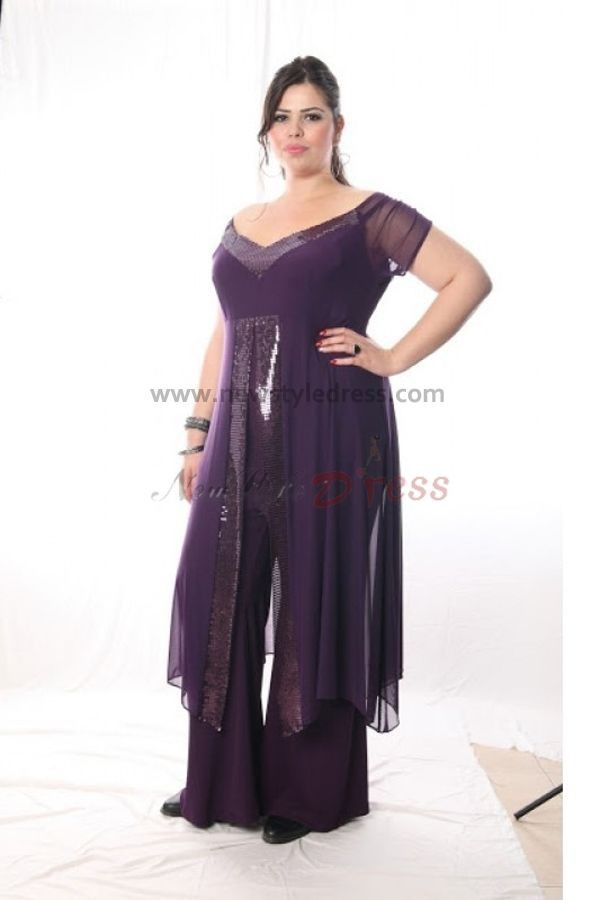 Plus size purple chiffon off the shoulder mother of the for Dress pant suits for weddings plus size