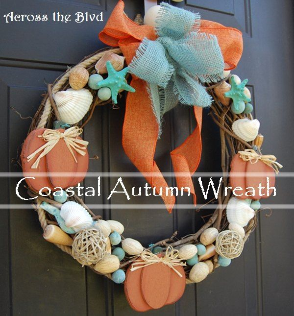 Pumpkins and Sea shells? Yes! If you're going for coastal autumn decor, they can go well together!  I decided that since I was going coastal with my fall decor,…