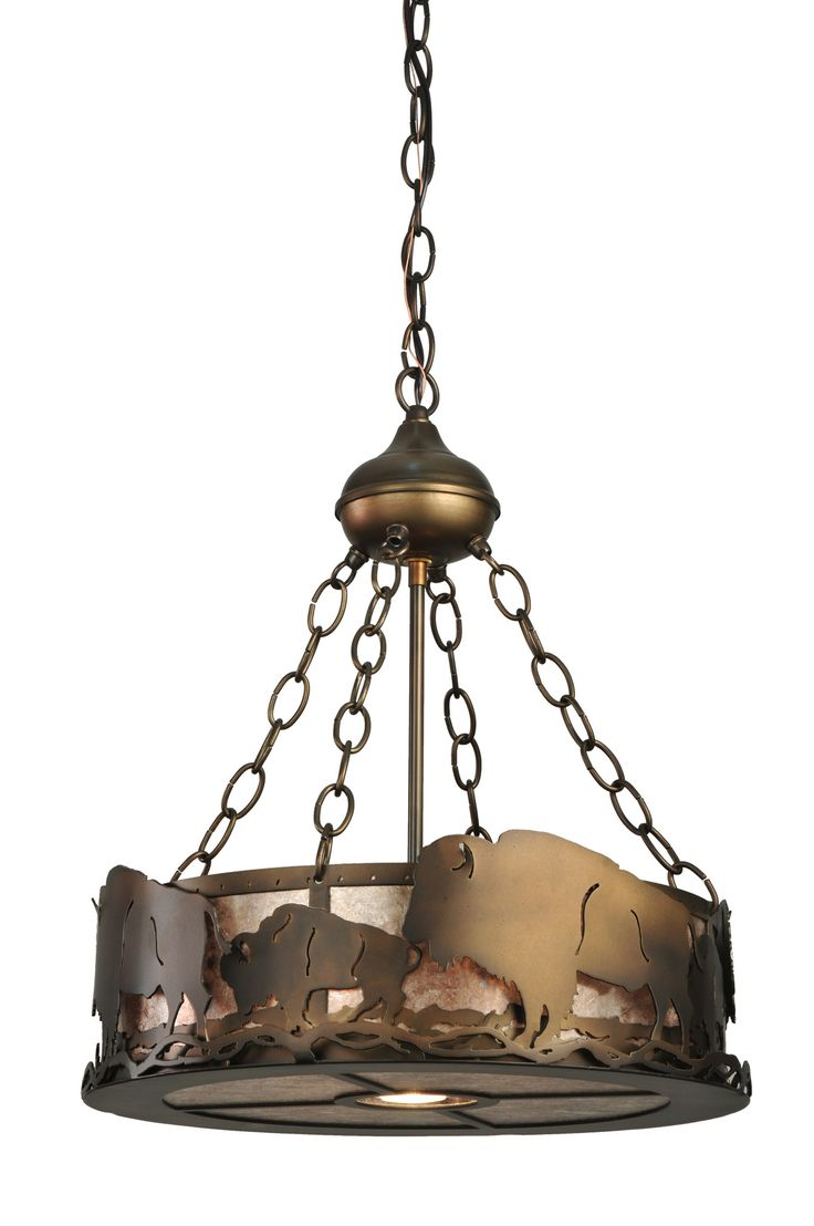 16 Inch W Buffalo Inverted Pendant - 16 Inch W Buffalo Inverted PendantA herd of majestic Buffalo circle around this unique inverted rustic pendant, featuring a central down-light with a 50 watt MR16 halogen flood bulb. The fixture is finished in Antique Copper, with Silver mica panels, and is handcrafted in the USA by Meyda artisans. Theme: RUSTIC LODGE GOTHIC ANIMALS Product Family: Buffalo Product Type: CEILING FIXTURE Product Application: CEILING FIXTURES -- INVERTED PENDANT Color…