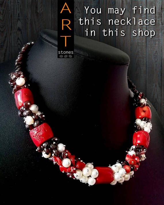 Coral necklace\Necklace Gift\real Coral necklace\Necklace red-black Chic black-red agate and coral necklace is bright and looks very effective and rich. ☀ SIZE ☀ Length of the necklace: approx. 18.5 inches (47 cm) + 3.5 in (10 cm) extension chain Length of bright red coral beads