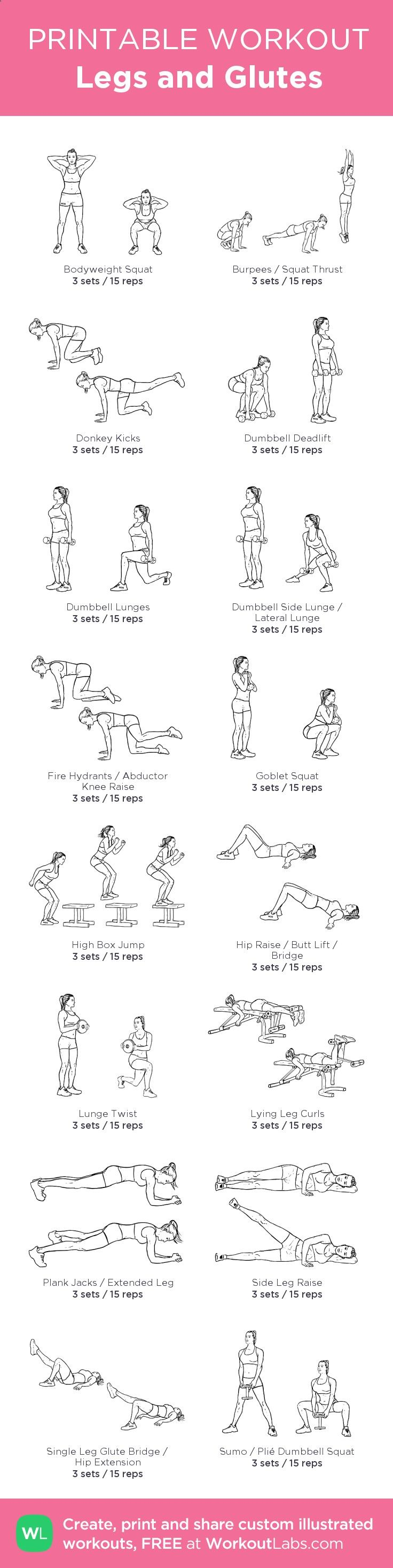 Legs and Glutes – my custom workout created at WorkoutLabs.com • Click through to download as printable PDF! #customworkout