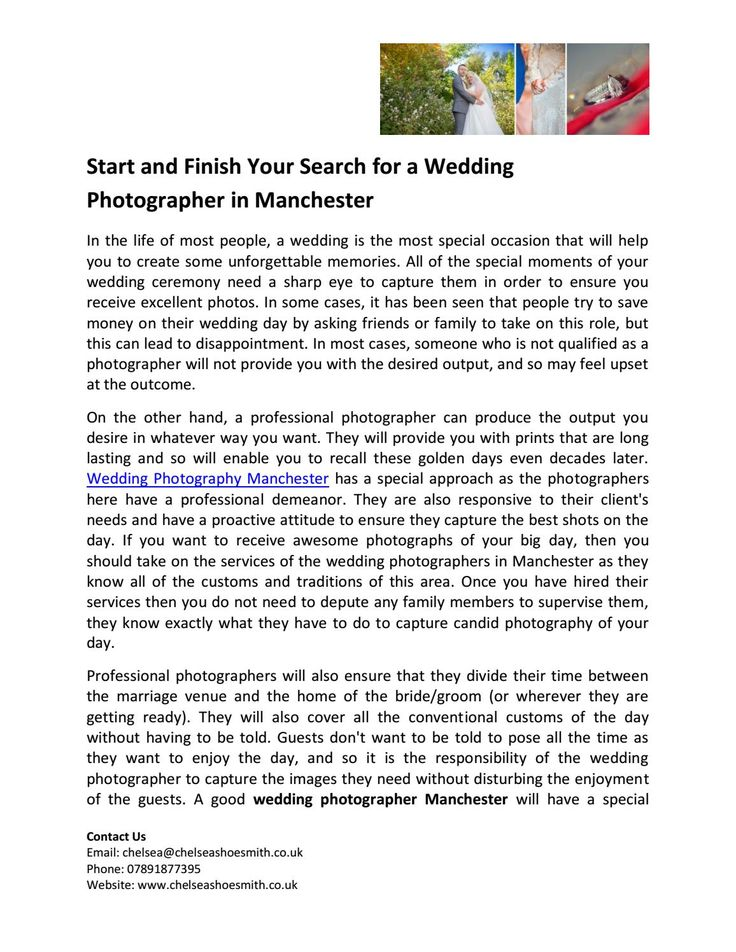 Start and finish your search for a wedding photographer in manchester