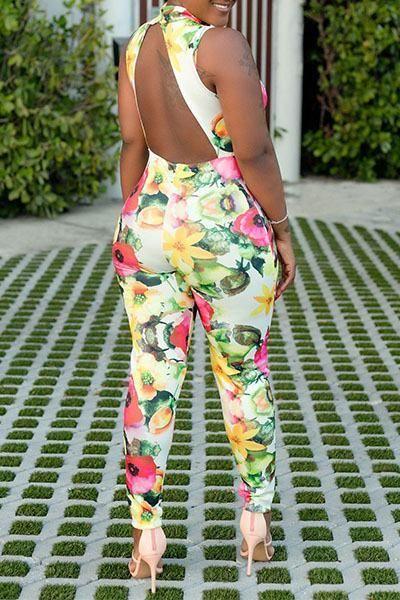 9c8b50832247 Sleeveless High Neck Regular Floral Print Jumpsuit