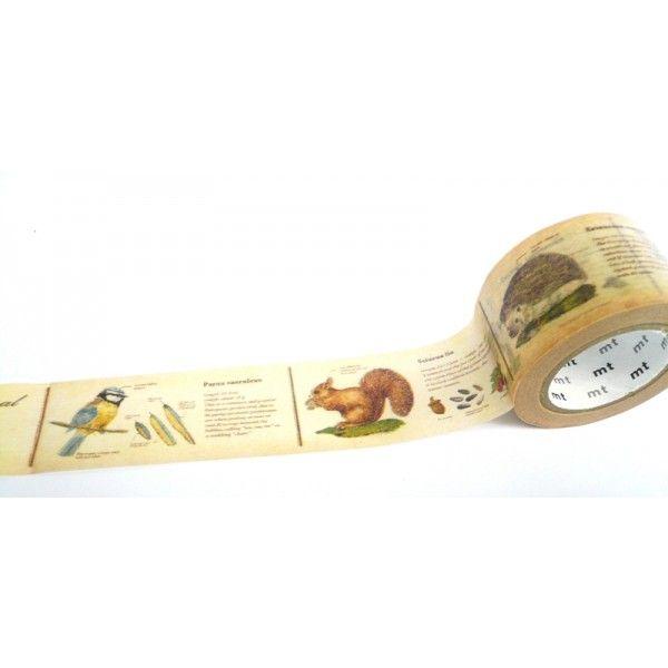 Nádherná samolepící washi páska s motivem staré encyklopedie o zvířatech.
