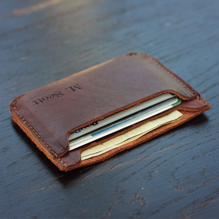 Personalized Front Pocket Double Sleeve Mens Leather Wallet with Rounded Corners